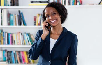 African American businesswoman talking.