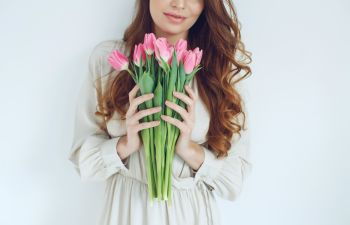 Woman with tulips.