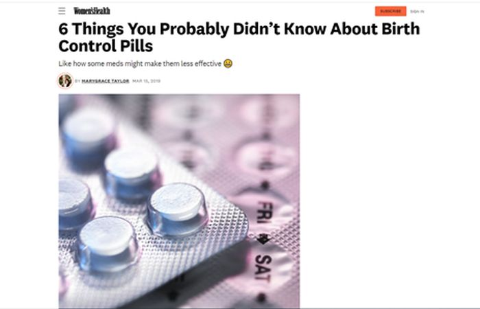 Screenshot of an article - 6 Things you probably didn't know about birth control pills.