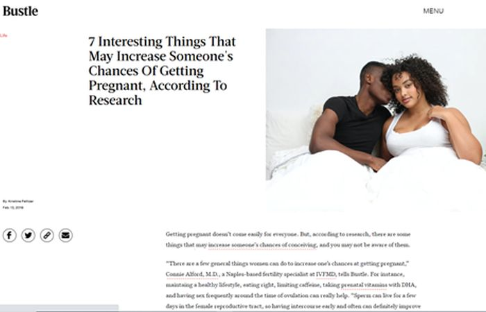 Screenshot of an article - 7 interesting things that may increase someone's chances of getting pregnant, according to research.