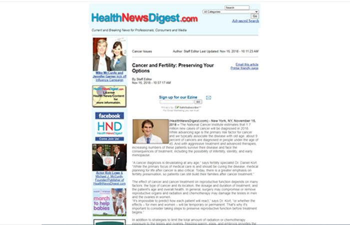 Screenshot of an article - Cancer and fertility: Preserving your options.