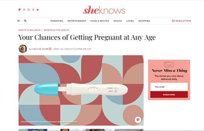 Screenshot of an article - Your changes of getting pregnant at any age.