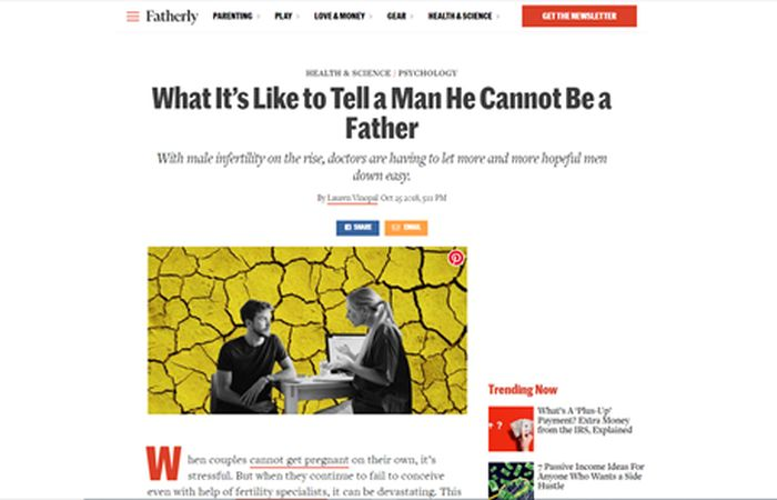 Screenshot of an article - What it's like to tell a man he cannot be a father.