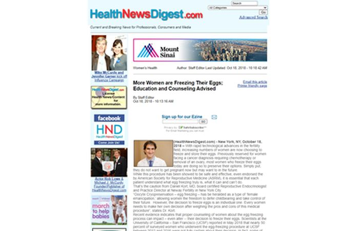 Screenshot of an article - More women are freezing their eggs: Education and counseling advised.