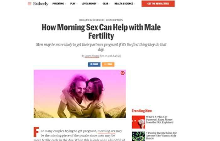 Screenshot of an article - How morning sex can help with male fertility.