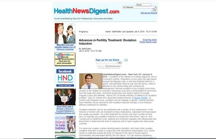 Screenshot of an article - Advances in fertility treatment: Ovulation induction.