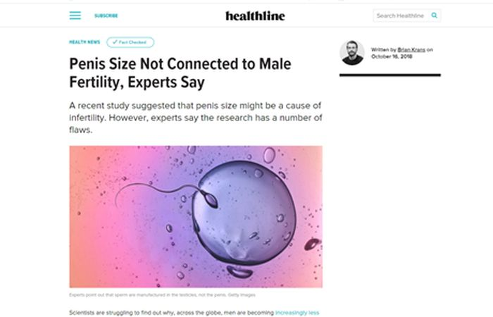 Screenshot of an article - Penis size not connected to male fertility, experts say.