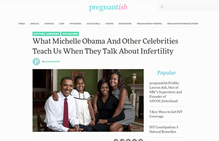 Screenshot of an article - What Michelle Obama and other celebrities teach us when they talk about infertility.