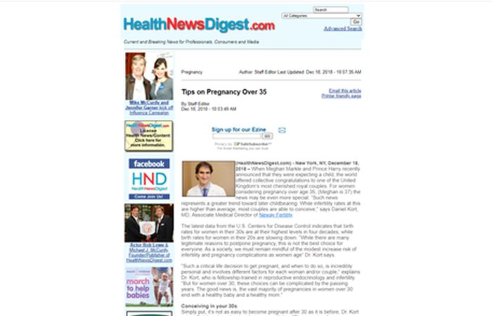 Screenshot of an article - Tips on pregnancy over 35.